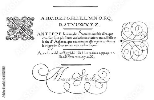 Obraz na plátně Writing example with capital X, vintage illustration.