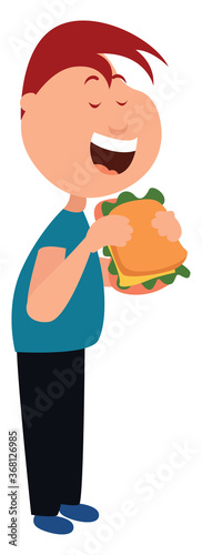 Man eating sandwich, illustration, vector on white background