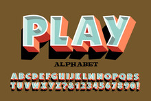 Play Alphabet; A Fun And Playful 3d Effect Font With Shadow And Harmonized Color Scheme.