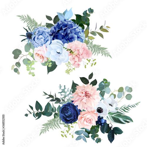 Fotografiet Classic navy blue, blush pink rose, hydrangea, ranunculus, dahlia, white anemone
