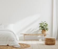 White Cozy Farmhouse Bedroom Interior, Wall Mockup, 3d Render