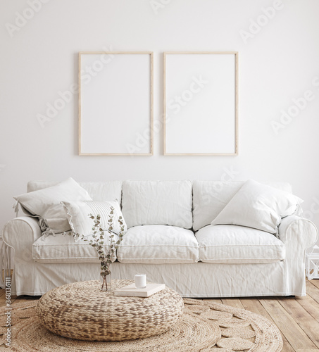 Mockup frame in farmhouse living room interior, 3d render	 - 368136111