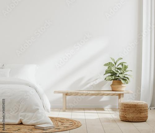 Obraz White cozy farmhouse bedroom interior, wall mockup, 3d render - fototapety do salonu