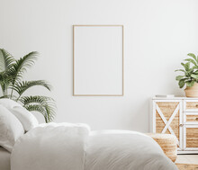 Mockup Frame In Bedroom Interi...