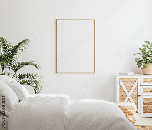 Mockup frame in bedroom interior background, Farmhouse style, 3d render - 368138355