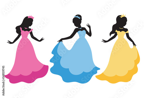Vector illustration of long haired princess black silhouette in princess costume.