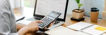 Accountant Calculating Tax Report, Financial Concept.