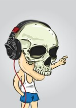 Man With A Skull Mask With Headphones On