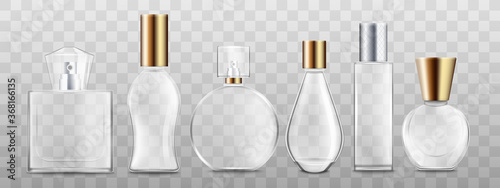 Fototapeta Realistic perfume bottle set isolated on transparent background obraz