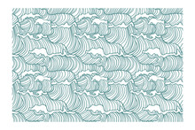 Horizontal Seamless Pattern Of Surging Waves In A Turquoise Line. Design For Backdrops With Sea, Rivers Or Water Texture.