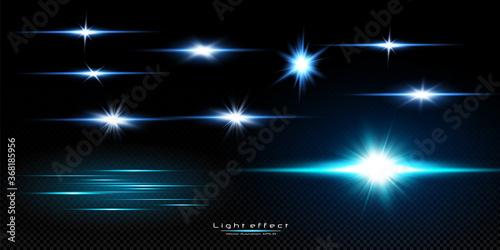Obraz Vector illustration of a blue color. Set of  light effects. Flashes and glares. Bright rays of light. Glowing lines. Vector illustration. Christmas flash. dust. - fototapety do salonu