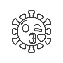 Virus Face Blowing A Kiss Emoji Line Icon. Linear Style Sign For Mobile Concept And Web Design. Coronavirus Emoticon Kiss Outline Vector Icon. Symbol, Logo Illustration. Vector Graphics