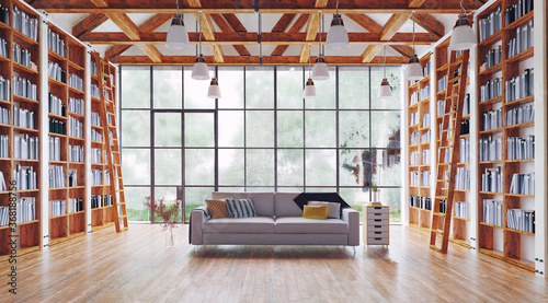 Obraz na plátne living room with great library.