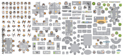Obraz Vector set of office. People at work and office furniture. (top view) Desks, chairs, cabinets, sofas, computers, conference room, reception. Men and women in different poses. (view from above) - fototapety do salonu