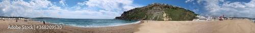 Obraz Panorama of Nazaré with the beach, houses and the Atlantic ocean   - fototapety do salonu