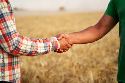 Photo Farmer and agronomist shaking hands standing in a wheat field after agreement