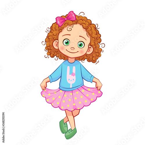 Slika na platnu Cute curly-haired girl in a curtsy