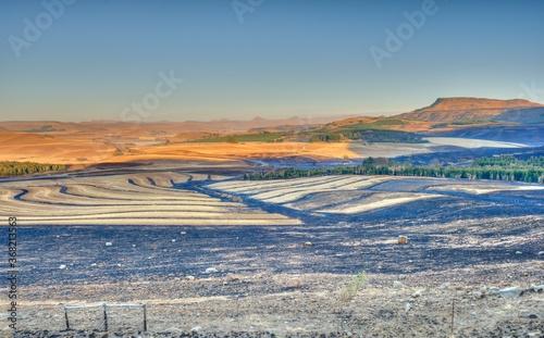 FIRE BREAK BURNING ETCHES THE LANDSCAPE  Ngagwana valley, southern drakensberg, Canvas Print