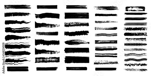 Big Collection of black paint, ink brush strokes, brushes, lines. Dirty artistic design elements. High quality manually traced. Isolated elements set. Grungy black swatches. Rough smears and stains
