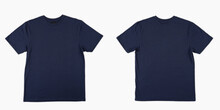 Blank T Shirt Color Navy Blue Template Front And Back View On White Background. Blank T Shirt Template.  Navy Blue Tshirt Set Isolated,mock Up.