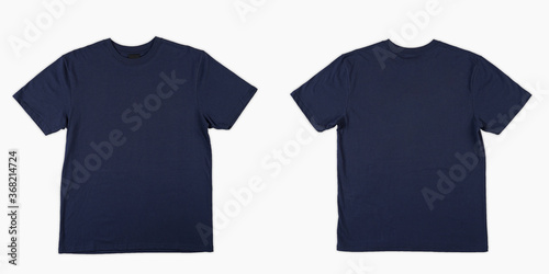 Fotografia, Obraz Blank T Shirt color navy blue template front and back view on white background