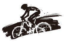 Mountain Biker In Full Speed. Expressive Grunge Stylized Illustration Of Mountain Bike Cyclist. Vector Available.