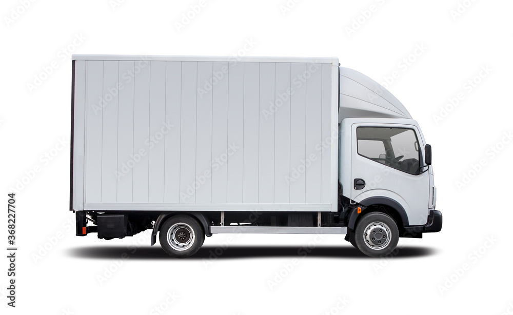 Fototapeta White truck side view isolated on white background