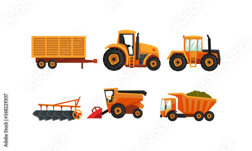 Obraz Agricultural Machinery Set, Modern Farm Vehicles for Land Agricultural Processing, Tractor, Plow, Truck Flat Style Vector Illustration - fototapety do salonu