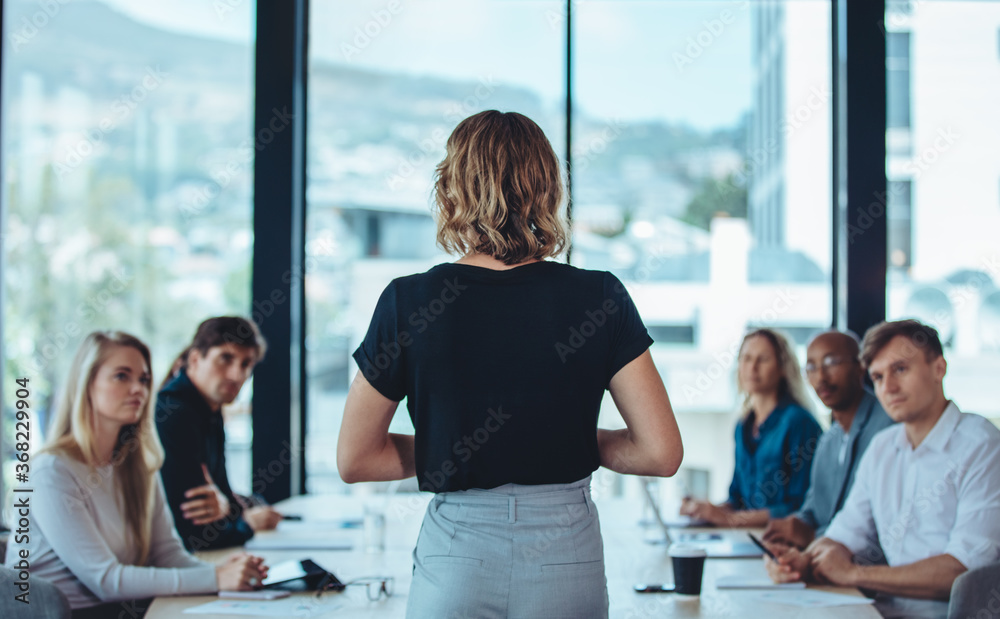 Fototapeta Female business leader conducting a meeting