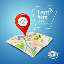 Folded Maps Navigation, With Red Color Point Markers, I Am Here Message Design Background, Vector Illustration