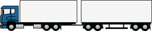 Truck Towing A Trailer - Truck And Trailer Truck - Trailer - Shape - Silhouette - European Truck - Cargo - Vector - Profile - Truck - Delivery - Blue - Dog Trailer - Double Trailer
