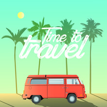 Vector Illustration Of A Retro Car On The Background Of A Landscape With Palm Trees.