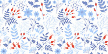 Winter Floral Pattern With Whi...
