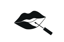 Lips With Lipstick Icon. Apply...