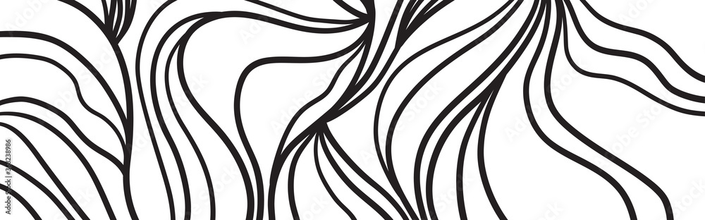 Fototapeta Monochrome wave pattern. Wavy background. Black and white wallpaper