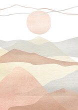 Watercolor Creative Minimalist Hand Painted Landscape Composition, Mountains. Abstract Modern Print, Poster, For Wall Decoration, Card Or Brochure Cover Design. Aesthetic Trendy Illustration