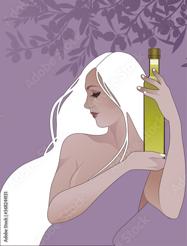 Fototapeta Beautiful girl holding a bottle of olive oil, surrounded by olives and olive branches