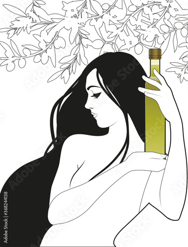 Beautiful girl holding a bottle of olive oil, surrounded by olives and olive branches Canvas Print