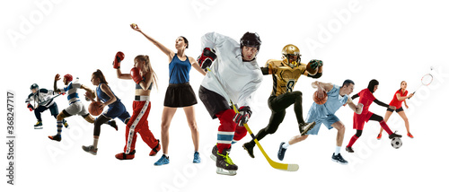 Fototapeta Sport collage of professional athletes or players isolated on white background, flyer. Made of different photos of 10 models. Concept of motion, action, power, target and achievements, healthy, active obraz