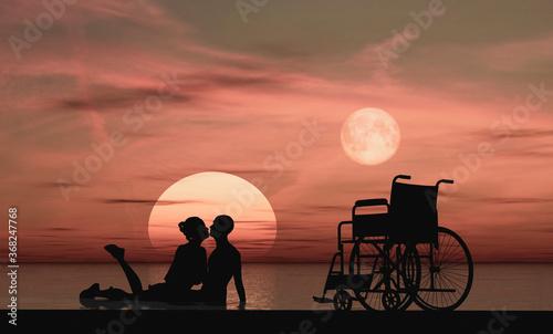 Silueta de una pareja con handicap físico dándose un beso al alba como símbolo d Wallpaper Mural