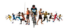 Sport Collage Of Professional Athletes Or Players Isolated On White Background, Flyer. Made Of Different Photos Of 11 Models. Concept Of Motion, Action, Power, Target And Achievements, Healthy, Active