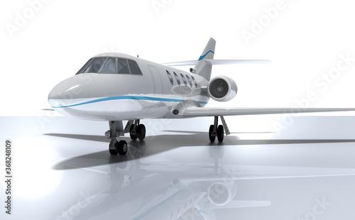 3d moderner Privat Jet mit Reflektionen, freigestellt Canvas Print