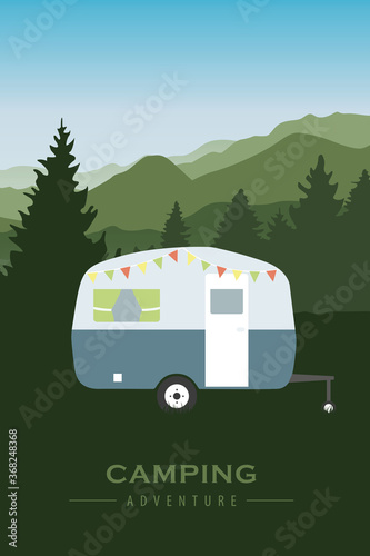 camping adventure at green mountain and forest landscape vector illustration EPS10