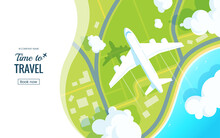 Traveling On Airplane Vector Illustration. Plane Flying Over The Ground In The Clouds. View From Above. Travel Offer Banner Concept. Aircraft Landing. Applicable For Voucher, Ticket, Vacation Flyer.