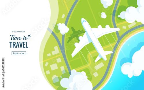 Traveling on airplane vector illustration Fototapeta