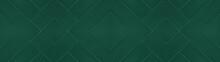 Dark Green Seamless Abstract Grunge Pattern Square Rhombus Diamond Herringbone Tiles Texture Background Banner Panorama Long