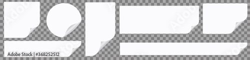 white note paper banner stickers on transparent background