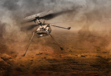 Helicopter Drone Flying Over Planet Mars Desert. Mars One Exploration Science Mission, US Perseverance Rover, Ingenuity Helicopter 2020 Launch Program 3d Concept. Elements Of Image Furnished By NASA