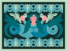 Vector Card With Russian Folk Mermaid. Traditional Ornament For House Wood Carving