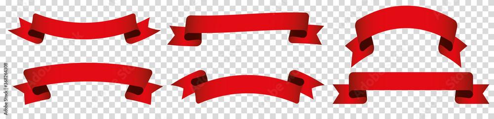 Fototapeta set of red ribbon banner label on transparent background
